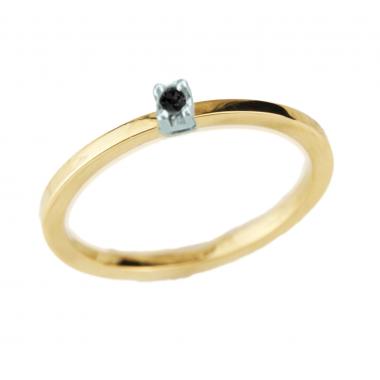 Δαχτυλίδι 14Κ Χρυσό με Μαύρο Διαμάντι