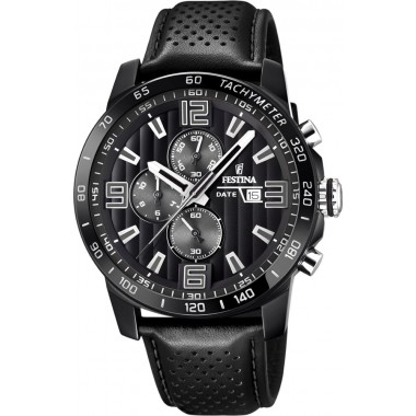 FESTINA Black Leather Chronograph F20339/6