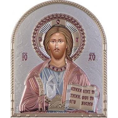 Χριστός 00210 Ασημένια εικόνα οβάλ