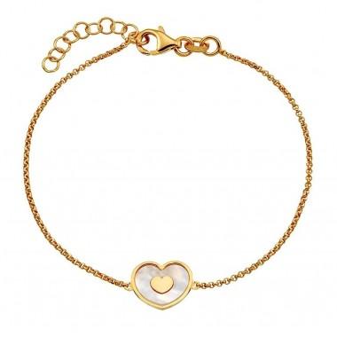 vogue Βραχιόλι Ασημενιο 925 με καρδια φιλντισι