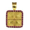 Κρεμαστό Κωνσταντινάτο φυλαχτό από χρυσό με ζιργκον 14Κ