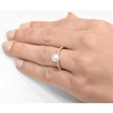 Δαχτυλίδι 14Κ Χρυσό με Ζιρκόν και μαργαριταρι