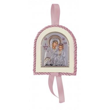 Ροζ εικονάκι κούνιας Παναγία Βλαδιμίρκα