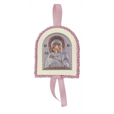 Ροζ εικονάκι κούνιας Παναγία Γιάτρισσα