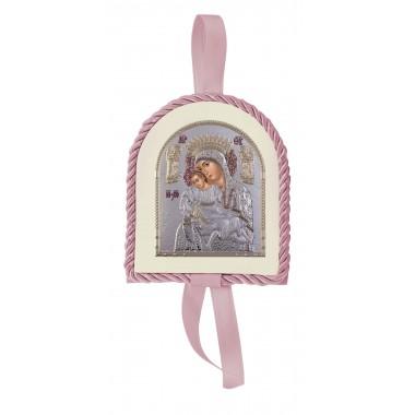 Ροζ εικονάκι κούνιας Παναγία Άξιον Εστί